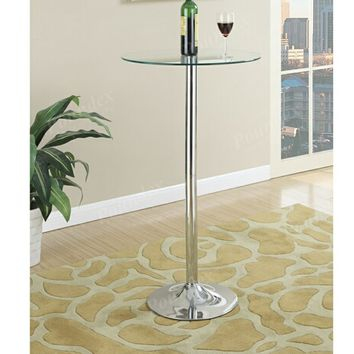 Kossini collection contemporary style clear glass top round bar table with chrome base