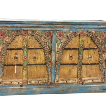 Antique Vintage Sideboard Buffet Media Cabinet Beautiful Floral Carved Indian Furniture