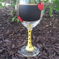 Teacher chalkboard paint hand-painted wine glass