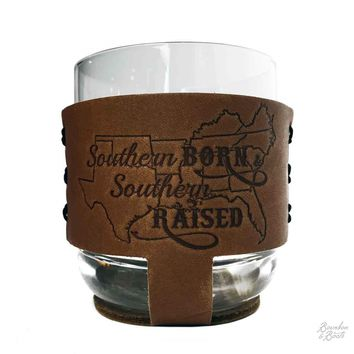 Southern Inspired Rocks Glass Set w/ Leather Sleeve