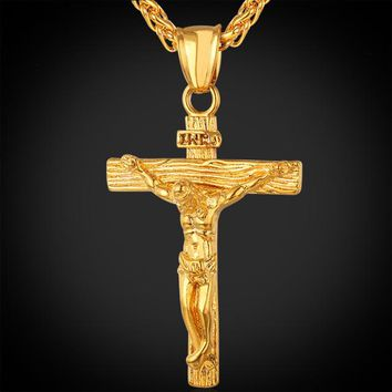U7 Cross INRI Crucifix Jesus Piece Pendant & Necklace Gold Color Stainless Steel Men Chain Christian Jewelry Gifts Vintage P624
