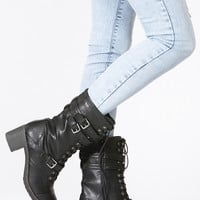 Black Faux Leather Chunky Mid Calf Boots