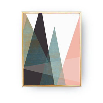 Pink Blue Print, Minimalist Poster, Textured Wall Art, Abstract Shapes, Simple Decor, Mid Century Decor, Geometric Triangles, Pastel Decor