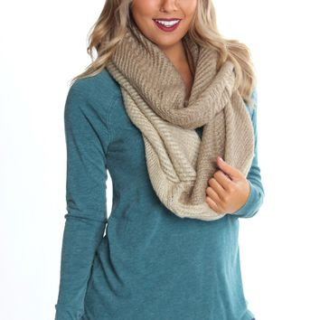 Colorblock Infinity Knit Scarf