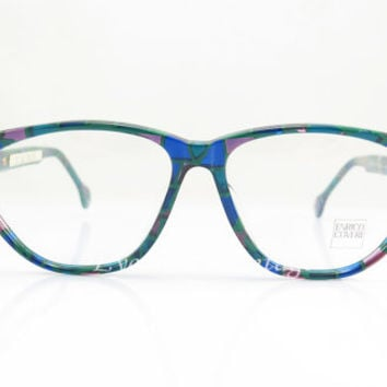 Enrico Coveri , Vintage Eyeglasses , Blue, Green, Pink and Black , Sunglasses , Mosaic , Geek , Unisex , Eyeglass Frames , NOS