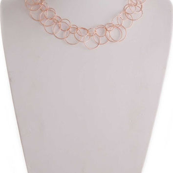 Multi Circle Link Necklace - Rose Gold
