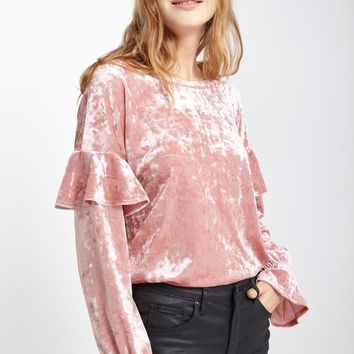 Bourge Crushed Velvet Long Sleeve Top