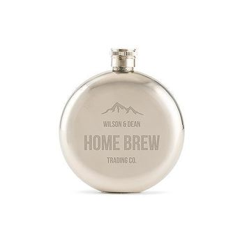 Mountain Engraved Round Silver Hip Flask for Men (Pack of 1)
