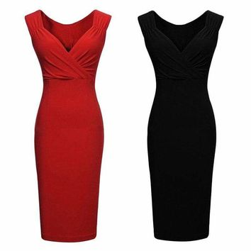 US Lady Women's Slim Dress Casual Office Formal Dress Evening Party Pencil Dress