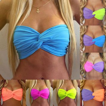 Candy colors wrapped chest Bra Coloruful Twist top crossings have new breast care