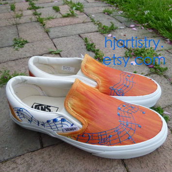 Custom Painted Shoes Music Note Inspired Vans (Toms or Converse)