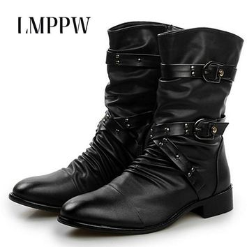 2017 New England Style Boots Punk Motorcycle Martin  Boots Luxury Brand Genuine Leather Military Boots Men Casual Shoes Black 2A