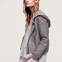 Free People Womens Quilted Riptide Hoodie