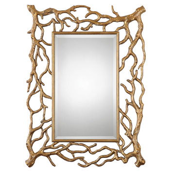 Mirrors, Sequoia Wall Mirror, Gold Leaf, Wall Mirrors