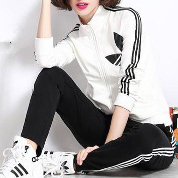 Adidas Fashion Casual Stripe Clover Print Long Sleeve Cardigan Cotton Sweater Set Two-Piece Sportswear