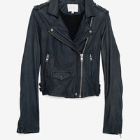 IRO EXCLUSIVE Leather Jacket: Navy- IntermixOnline.com