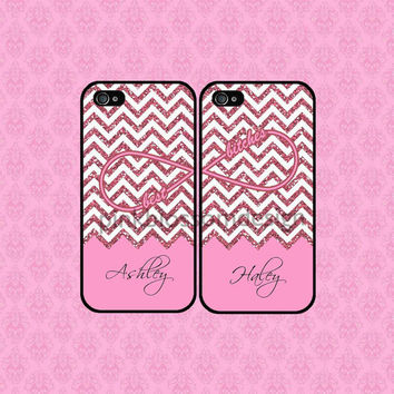 Best Bitches iPhone 4 Case , iPhone 5 Case , iPhone Case , Pink Chevron iPhone Case , TWO CASE SET ( Not Real Glitter )