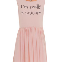 WILDFOX  Unicorn Poodle Pink Baby doll dress with print - Dresses