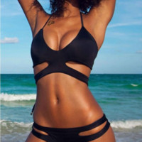 SEXY WILD STRAPE V BLACK TWO PIECE BIKINI