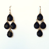 Strike At Midnight Chandelier Earrings In Black