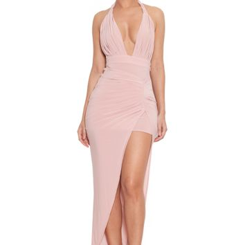 Clothing : Max Dresses : 'Luce' Rose Pink Draped Maxi Dress