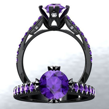 Victorian Inspired 14k Black Gold Engagement Ring, Wedding Ring With 1.25ct VVS Amethyst Center W2PU14BK