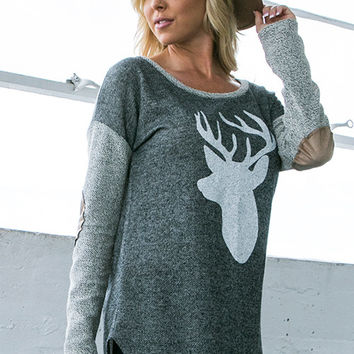 Reindeer Top with Elbow Patches
