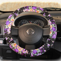by (CoverWheel) Steering wheel cover for wheel car accessories Violet Floral Wheel cover