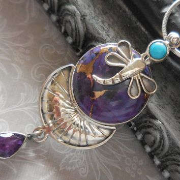 Turquoise, Copper, & Amethyst .925 Sterling Silver Dragonfly Pendant/Necklace