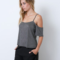 Little Luxe Knit Top - Silver/Black