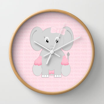 Girl Baby Elephant Print Wall Clock by CandyBoxDigital