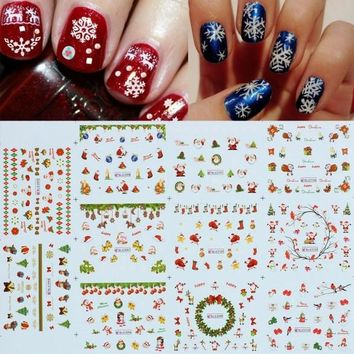 Fashion Christmas Water Transfer Nail Art Tips Sticker Decal DIY Manicure Decoration
