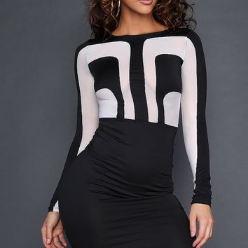 Black Futuristic Mini Dress
