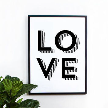Love 3d poster, inspirational, wall decor, mottos, home poster, print art, gift idea, typography art, 3d type, love poster, kids room