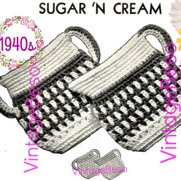 World Famous Retro Sugar 'n Cream Potholder Set • Fiesta Sugar and Cream Potholder CROCHET Pattern • PdF Pattern • Vintage 1940s • Digital