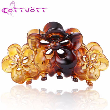 2016 New Plastic Floral Flowers Hair Jaw Claws Accessories Black Women Girl Acrylic Hair Crab Clips Cheap Headwear Jewelry FJ25
