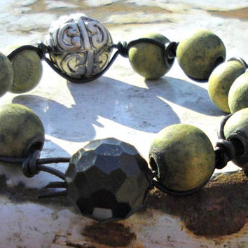 Hand Knotted Leather, Green Beads, Organic Materials, Large Etched Silver Focal Bead, Black Leather, Vintage Black Button Shank, Boho Hippie
