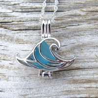 Wave of Life™ Caribbean Blue Sea Glass Sterling Silver Locket Necklace Summer Style Boho Beach by Wave of Life™