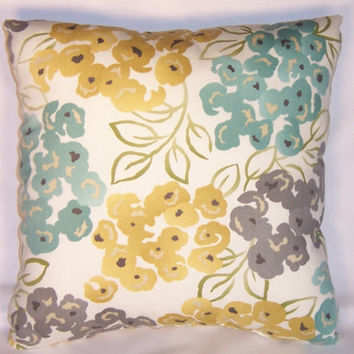 "Aqua Gold Grey Reversible  Floral and Lattice Throw Pillow Ready Ship Cover  Insert 17"" Square Robert Allen  Luxury Floral Pool 100% Cotton"
