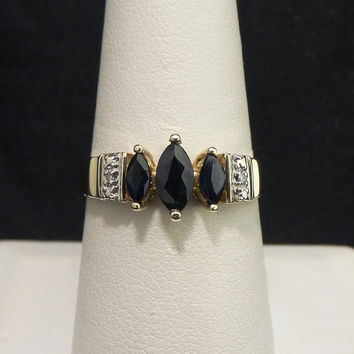 Solid 10K Yellow Gold .62 ctw Genuine Dark Blue Sapphire Diamond Ring - Size 8