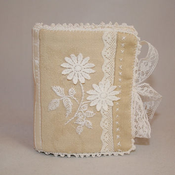 Linen and Lace Needle Book - Embroidered and recycled with crocheted lace edging