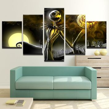 5 Piece Canvas art  nightmare before Christmas Halloween Canvas Wall Print Poster