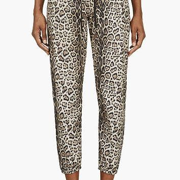 Moncler Gamme Rouge Beige And Black Leopard Print Lounge Pants
