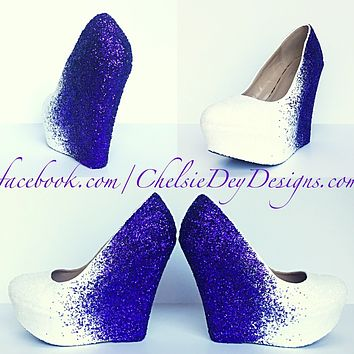 Purple Wedge Glitter Pumps, White Ombre Wedding High Heels
