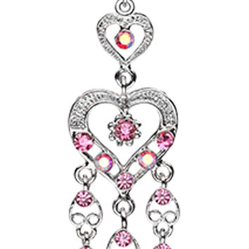 Heart Chandelier Belly Button Ring