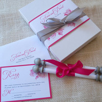 Romantic boxed wedding invitation suite, fabric scroll with rose flowers in pink and silver {25}