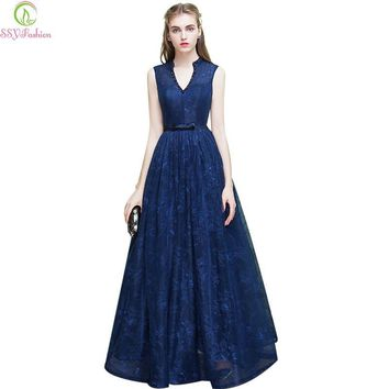 Long Evening Dress 2017 New SSYFashion Bride Banquet Elegant Navy Blue V-neck Floor-length Lace Sleeveless Prom Dress Party Gown