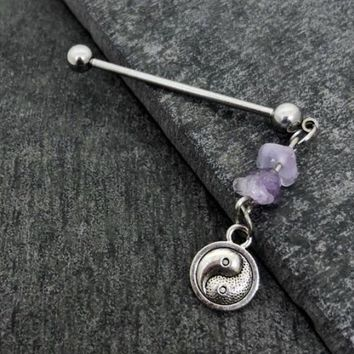 Ying Yang Industrial piercing, amethyst Scaffold 14, 16 gauge stainless steel body jewelry