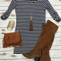 Need it Now Striped Dress: Navy