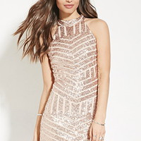 Sequin-Stripe Mini Dress